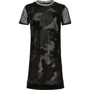 Girls khaki camo mesh T-shirt dress