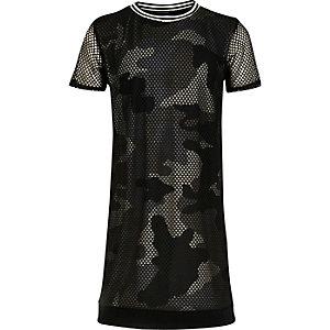 Robe t-shirt en maille ajourée camouflage kaki pour fille