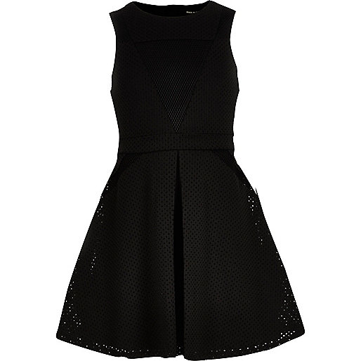 Girls black laser cut mesh dress