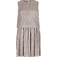 Girls metallic silver layer pleated dress