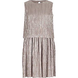 Girls silver double layer pleated dress