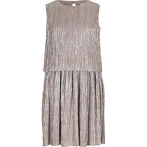 Girls metallic silver layer pleated dress