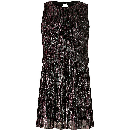 Girls purple double layer pleated dress