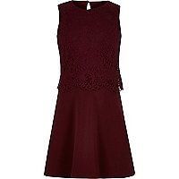 Girls dark red layered lace skater dress