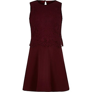 Girls dark red layered lace skater dress