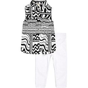 Ensemble mini fille legging et top blanc