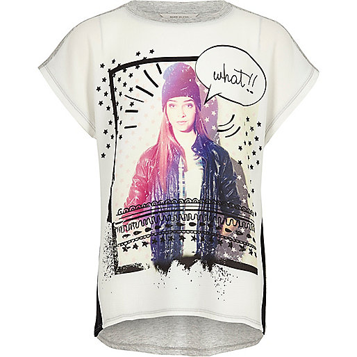 Girls white color block print t-shirt