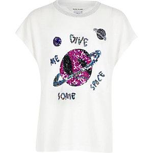 T-shirt blanc motif espace orné de sequins pour fille