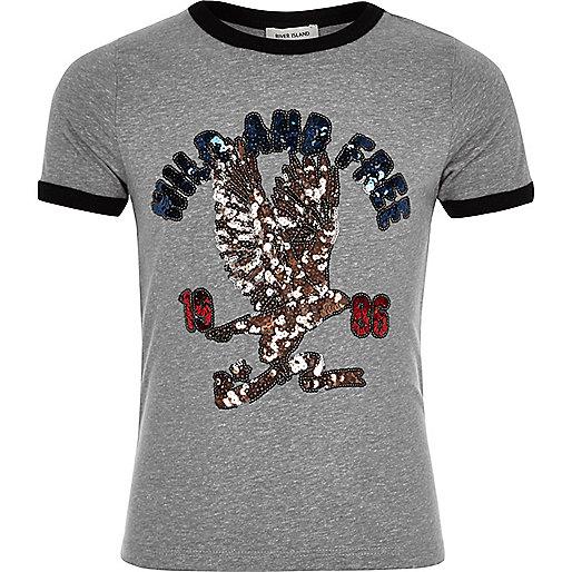 T-shirt à imprimé rétro sauvage à sequins gris pour fille
