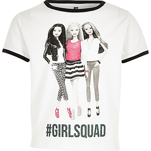 Weißes T-Shirt mit Barbie-Motiv