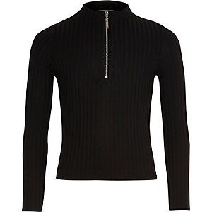 Girls black ribbed zip top