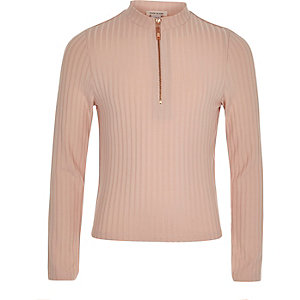 Girls Light pink white ribbed zip top