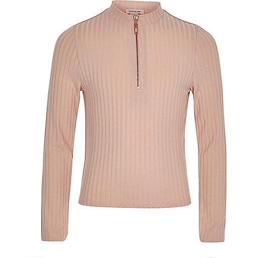 Top léger zippé rose et blanc côtelé