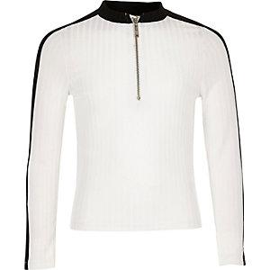 Top blanc côtelé zippé pour fille