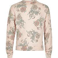Weiter Pullover mit Blumenmuster in Hellrosa