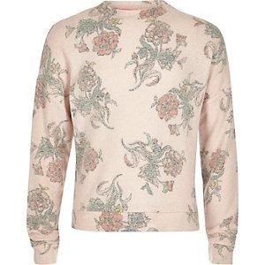 Sweatshirt mit Blumenmuster in Hellrosa