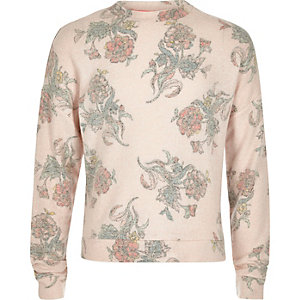 Girls light pink floral print sweatshirt