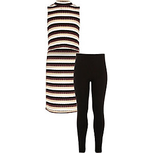 Ensemble legging et top rayé marron pour fille