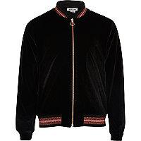 Girls black velvet lurex hem bomber jacket