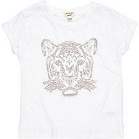Weißes T-Shirt mit Tigermuster aus Glitzersteinchen