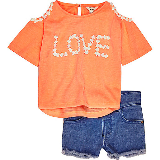 Mini girls coral cold shoulder outfit