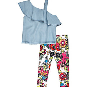 Mini girls denim one shoulder outfit