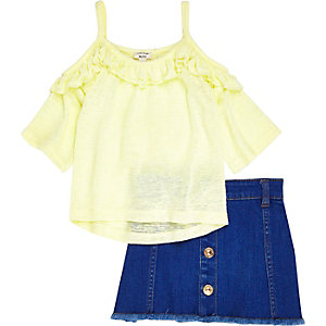 Mini girls yellow cold shoulder skirt outfit
