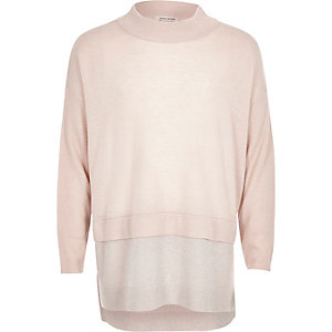 Girls pink knit high neck sparkly hem jumper
