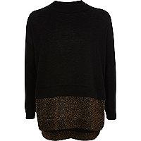 Schwarzer Pullover mit Glitzersaum