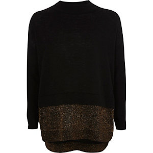 Girls black knit sparkly hem jumper