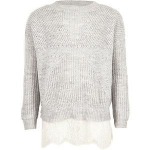 Girls grey pearl embellished lace hem sweater
