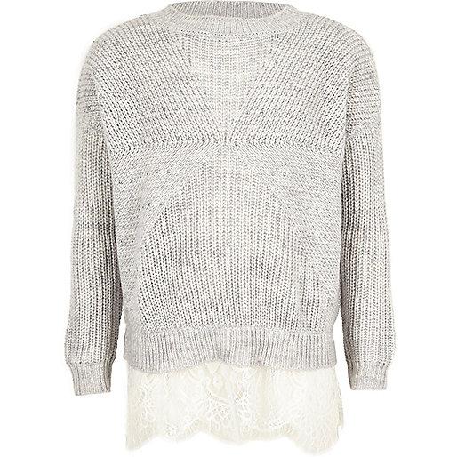 Pullover mit verziertem Spitzensaum in Grau