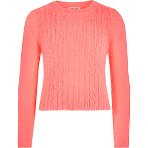 Girls coral fluffy knit jumper
