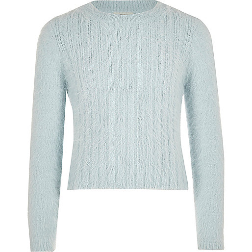 Girls light blue fluffy knit jumper