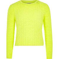 Girls fluro yellow fluffy knit jumper