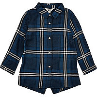 Mini girls blue check longline shirt
