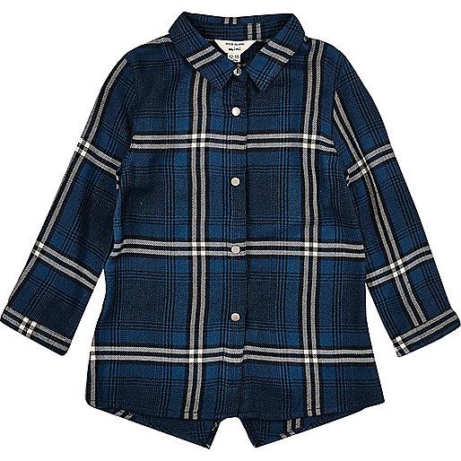 Chemise longue à carreaux bleue mini fille