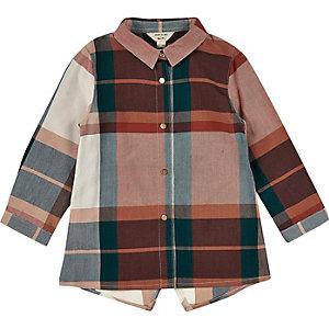 Mini girls rust checked longline shirt