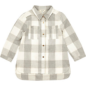 Mini girls grey checked longline shirt