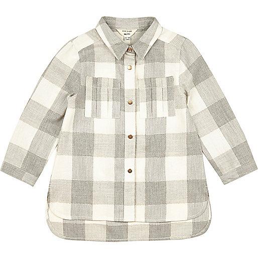 Mini girls grey check longline shirt