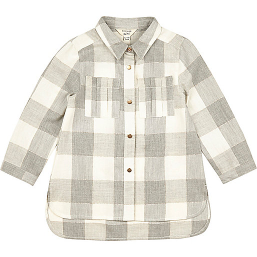 Mini girls grey check longline shirt