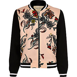 Girls pink floral bomber jacket