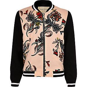 Girls pink floral bomber jacket