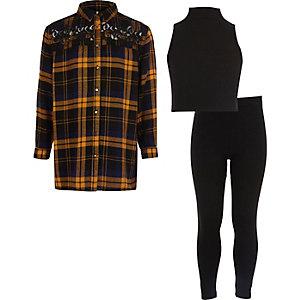 Girls blue check shirt, top, leggings set