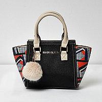Girls black geometric print winged tote bag
