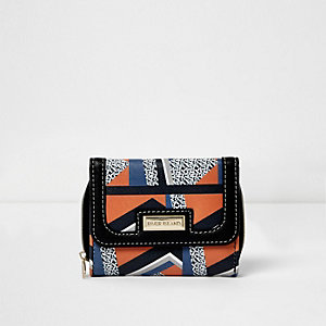 Girls black geometric trifold purse
