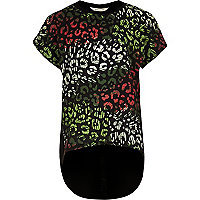 Girls black leopard print layered T-shirt