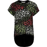 T-shirt noir à superposition imprimé léopard pour fille