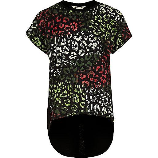 Girls black leopard print layered T-shirt