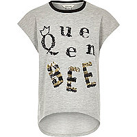 Girls light grey queen bee T-shirt